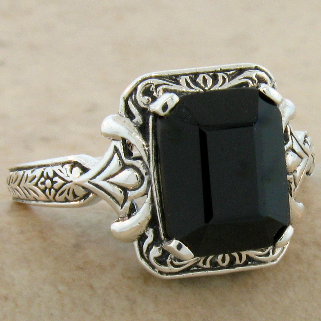 GENUINE BLACK ONYX ANTIQUE DESIGN 925 STERLING SILVER RING SIZE 10 ...