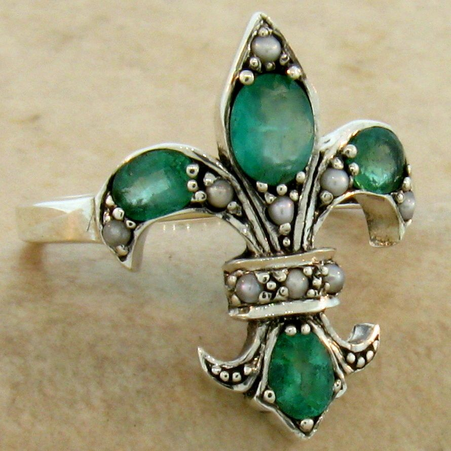 genuine emerald pearl fleur de lis 925