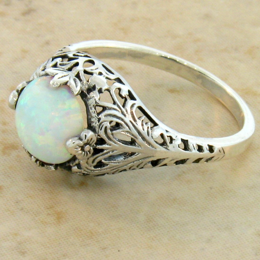 WHITE OPAL ANTIQUE FILIGREE DESIGN 925 STERLING SILVER RING SIZE 9 ...