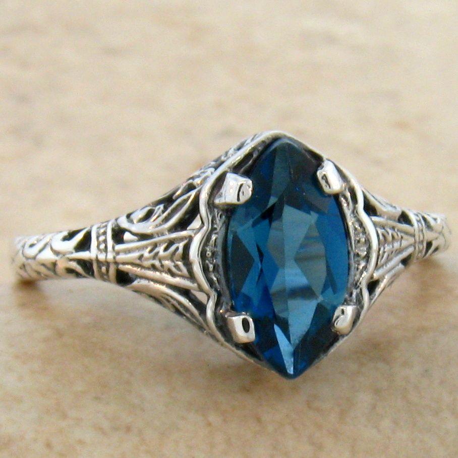 genuine blue topaz antique style 925 sterling