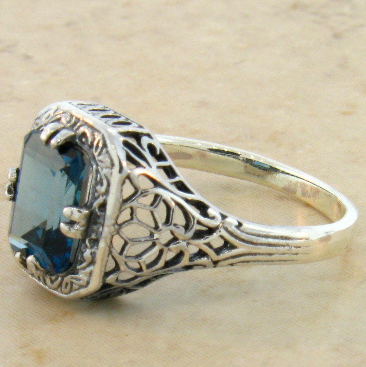 genuine blue topaz 925 sterling silver antique