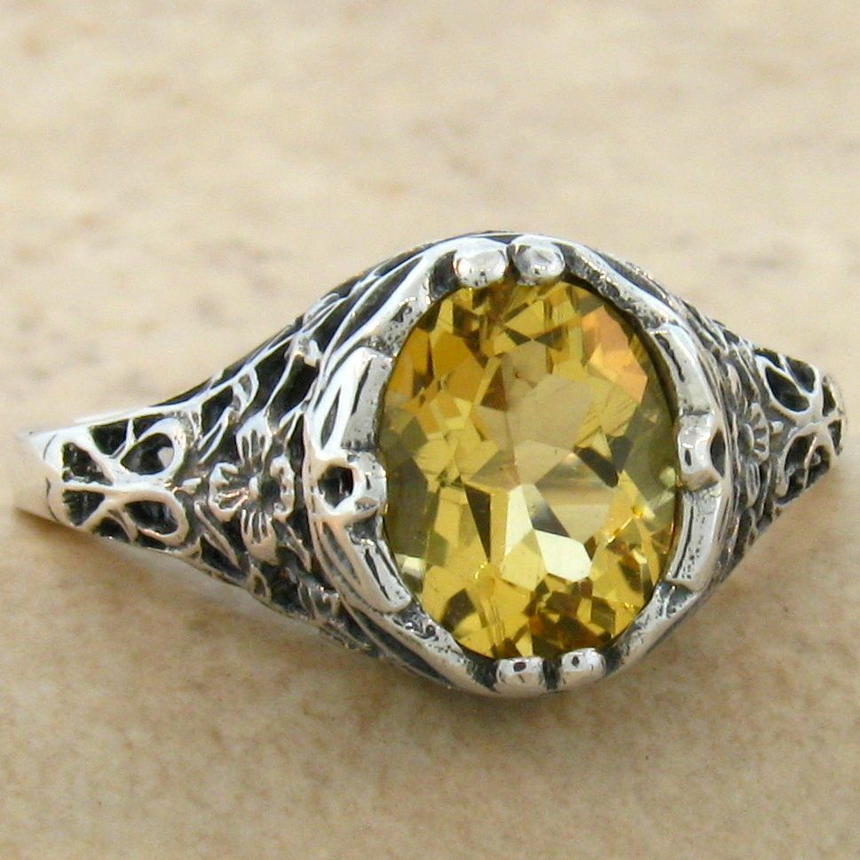 genuine citrine 925 sterling vintage antique style silver