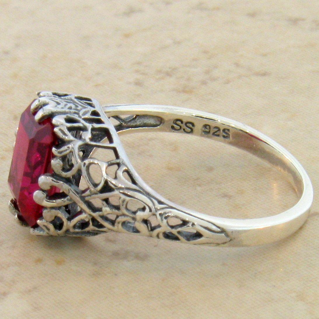 Antique Filigree Design 925 Sterling Silver Red Lab Ruby Ring 820 Ebay