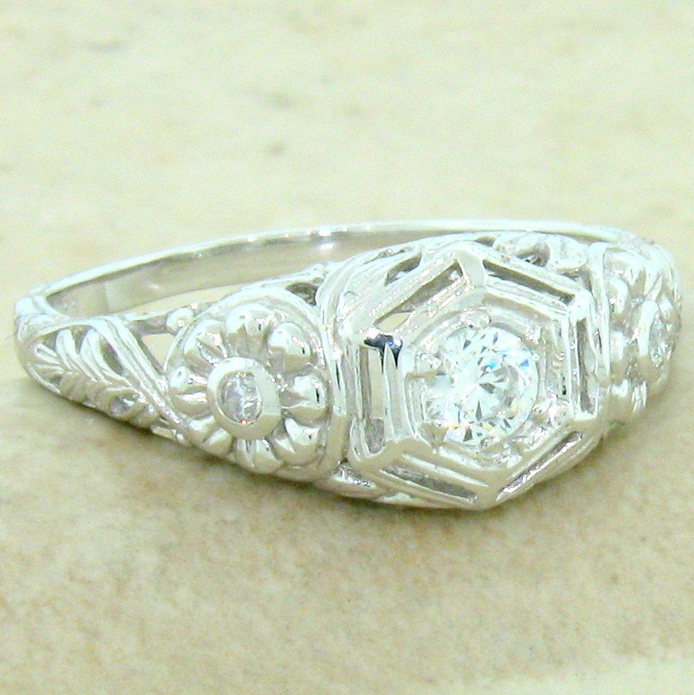 ENGAGEMENT WEDDING ANTIQUE STYLE 925 STERLING SILVER CZ RING SIZE 9 839