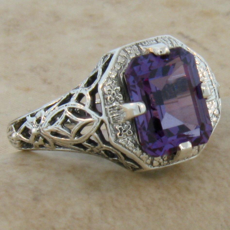 Vintage Alexandrite Rings 3 Ct LAB ALEXAN...