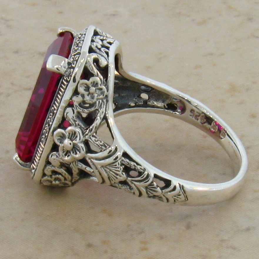 9 Ct Lab Ruby Antique Design 925 Sterling Silver Filigree