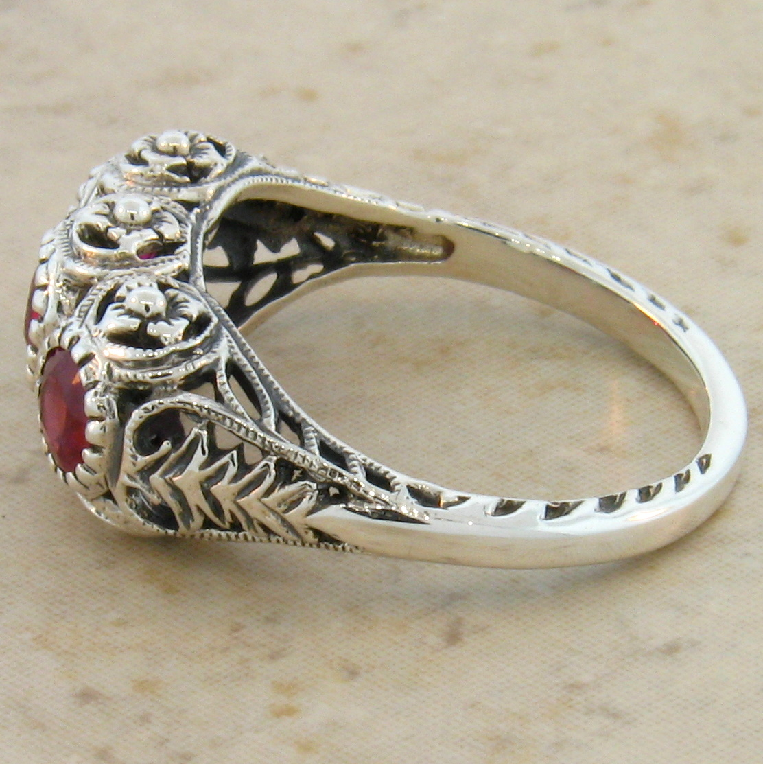 Genuine Ruby Antique Deco Style 925 Silver Filigree Ring