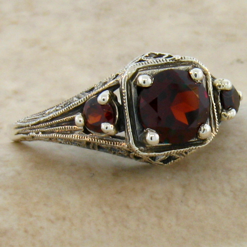 GENUINE GARNET ANTIQUE DECO STYLE .925 STERLING SILVER FILIGREE RING ...