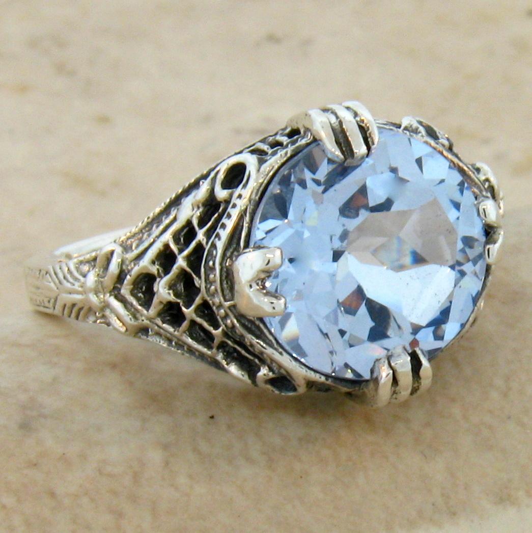 5 carat sky blue sim topaz 925 silver antique filigree