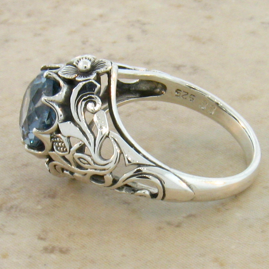 aquamarine nouveau 925 sterling silver antique style