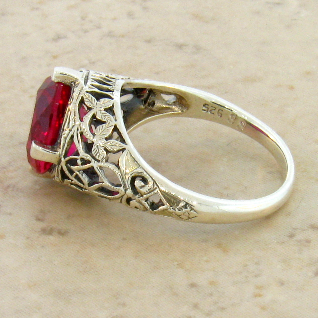 5 carat lab ruby antique deco style 925 silver filigree ring size 4 75 76 ebay