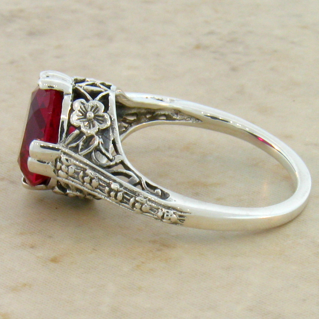 3 5 Ct Red Lab Ruby Antique Design 925 Sterling Silver