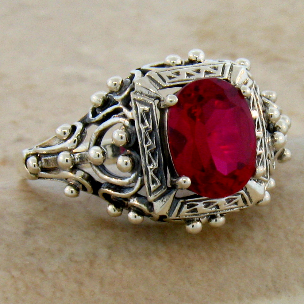 ... ANTIQUE VICTORIAN DESIGN RUBY .925 STERLING SILVER RING SIZE 7, #211