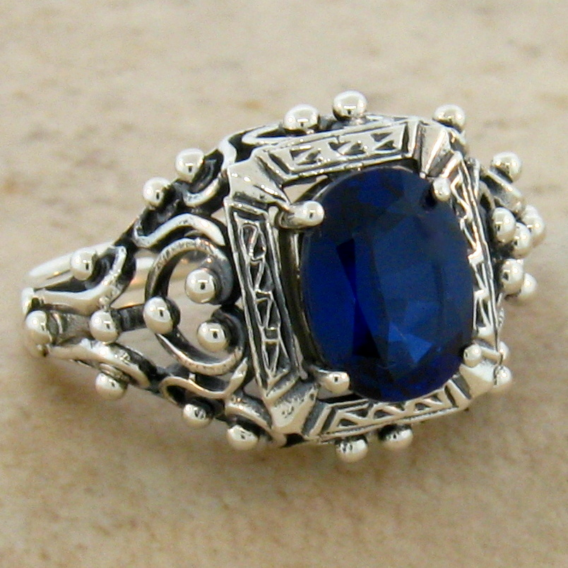 Blue lab sapphire antique victorian style 925 sterling for Man made sapphire jewelry