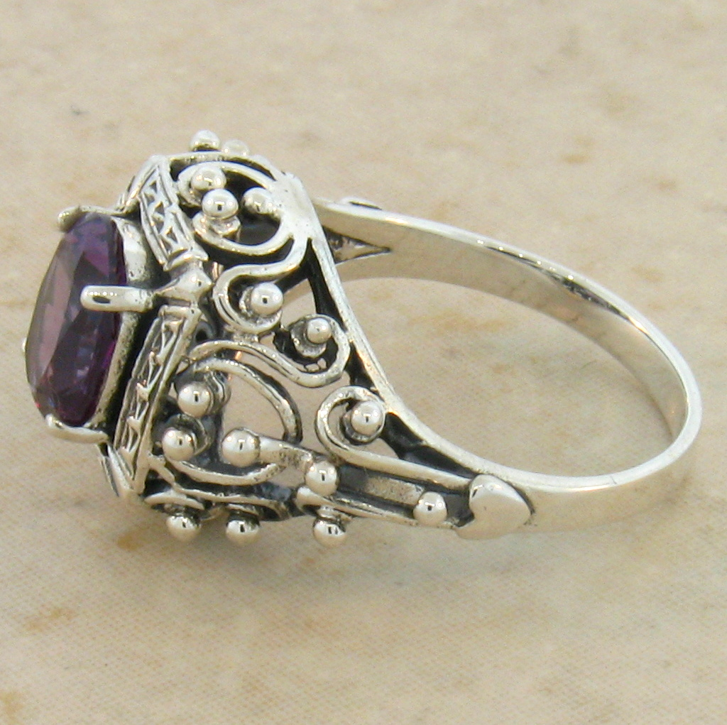 antique style lab alexandrite 925 sterling