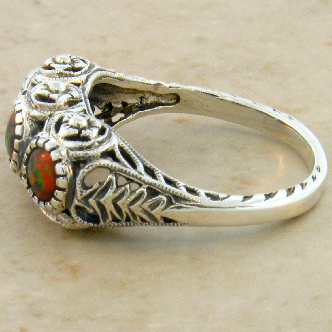 fire opal rings silver