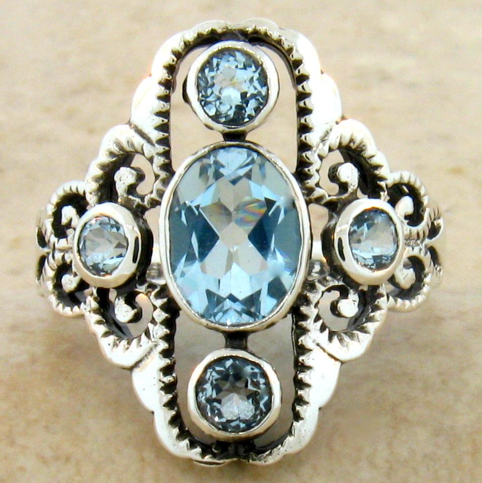 genuine sky blue topaz antique style 925 silver