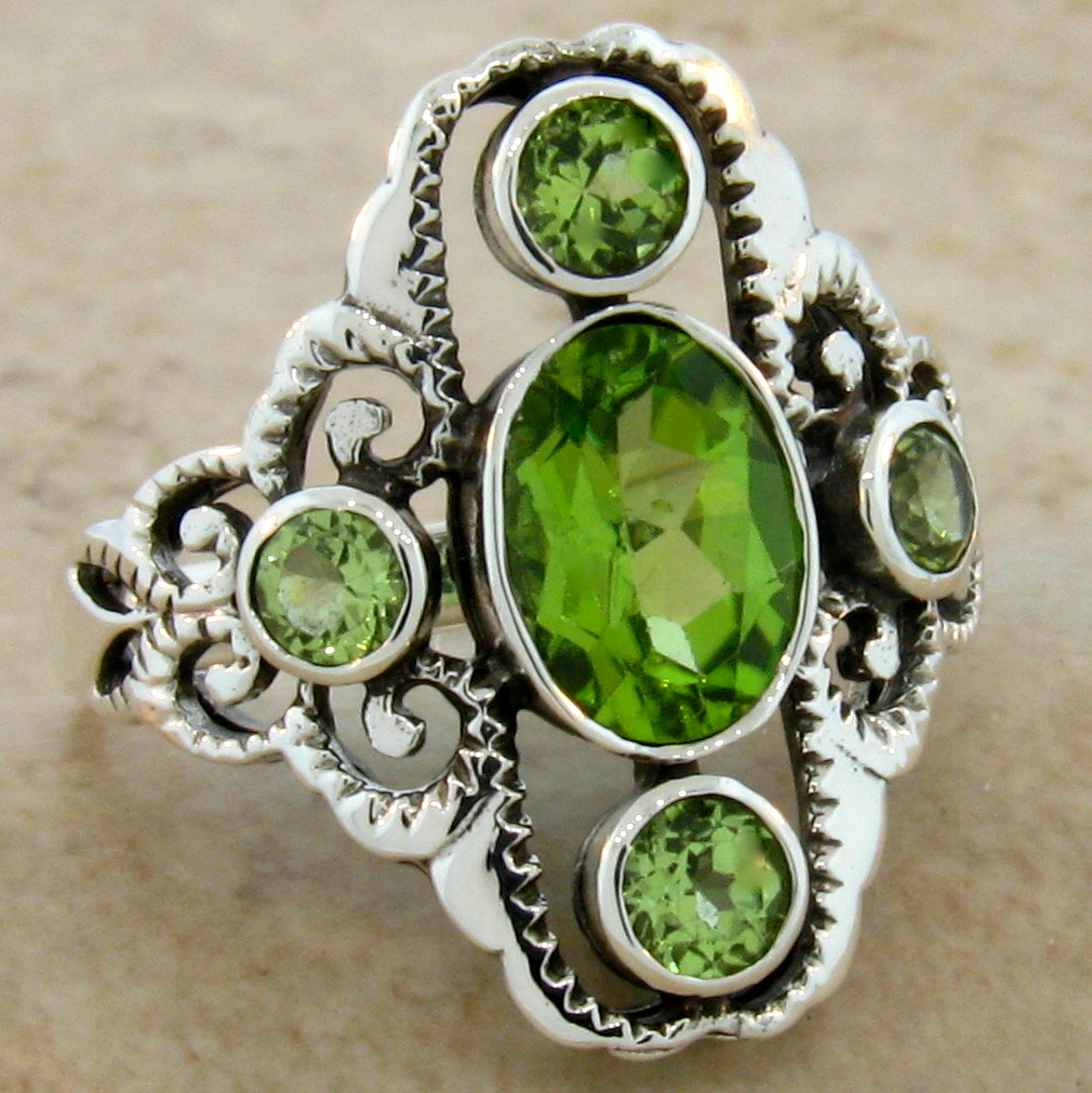 genuine peridot antique style 925 sterling