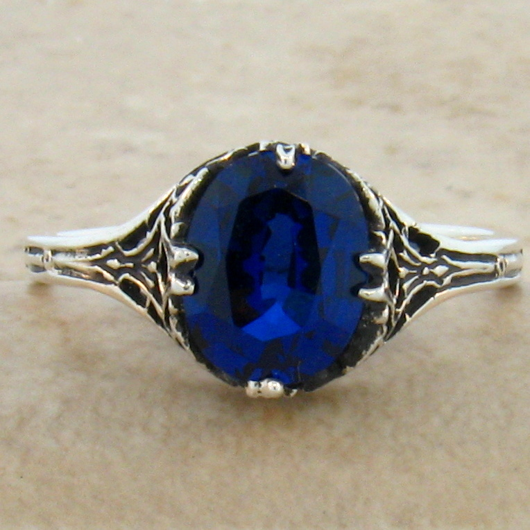 blue lab sapphire antique deco style 925 sterling silver