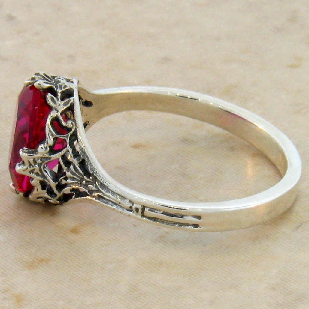 Lab Ruby Antique Art Deco Style 925 Sterling Silver