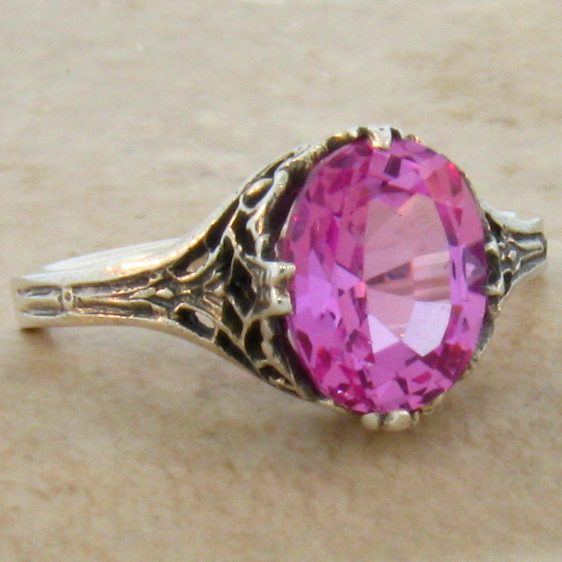 pink lab sapphire antique deco style 925 sterling silver