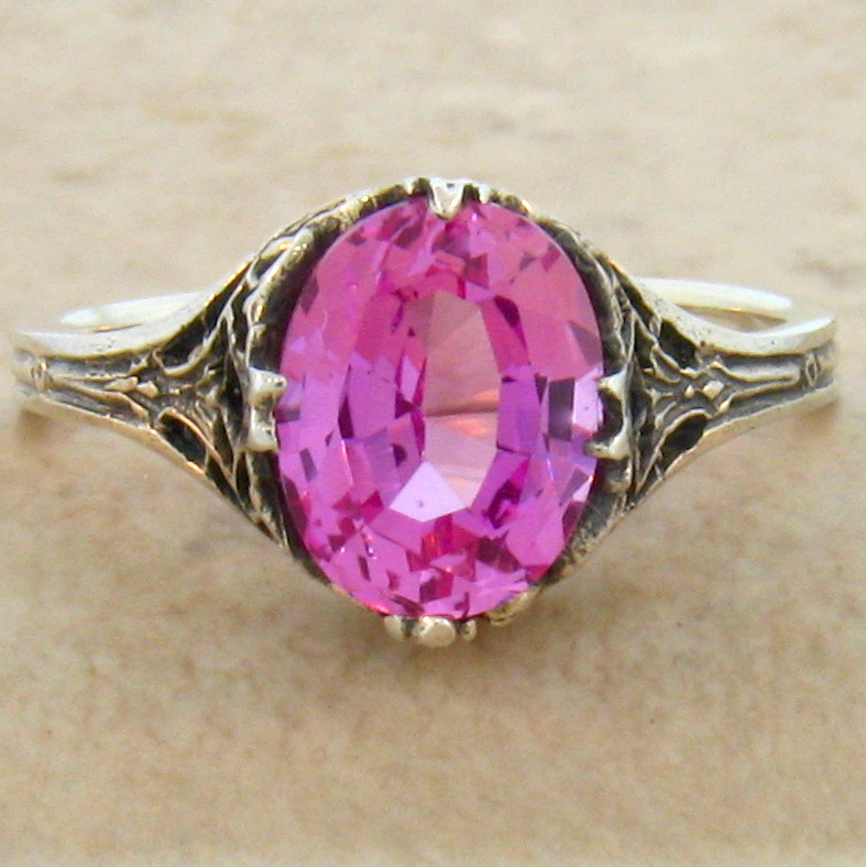 Pink Diamond Ring >> PINK LAB SAPPHIRE ANTIQUE DECO STYLE 925 STERLING SILVER RING SIZE 8,#450 | eBay