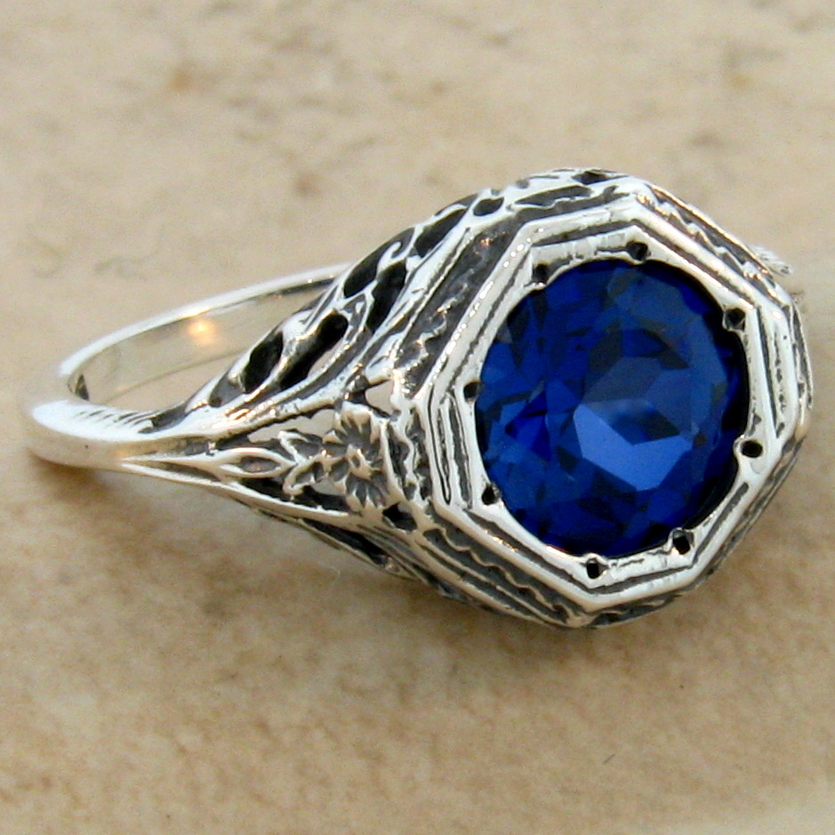 2 ct sapphire antique art deco style 925 sterling silver for Man made sapphire jewelry