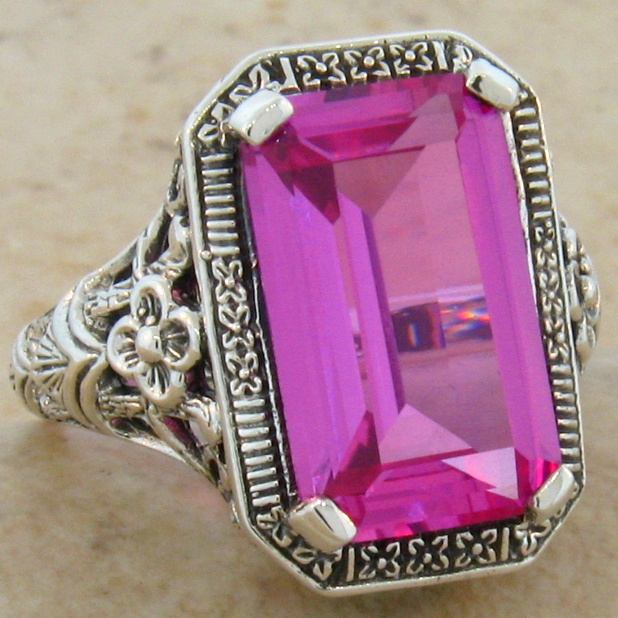 8 carat pink sapphire antique deco style 925 sterling