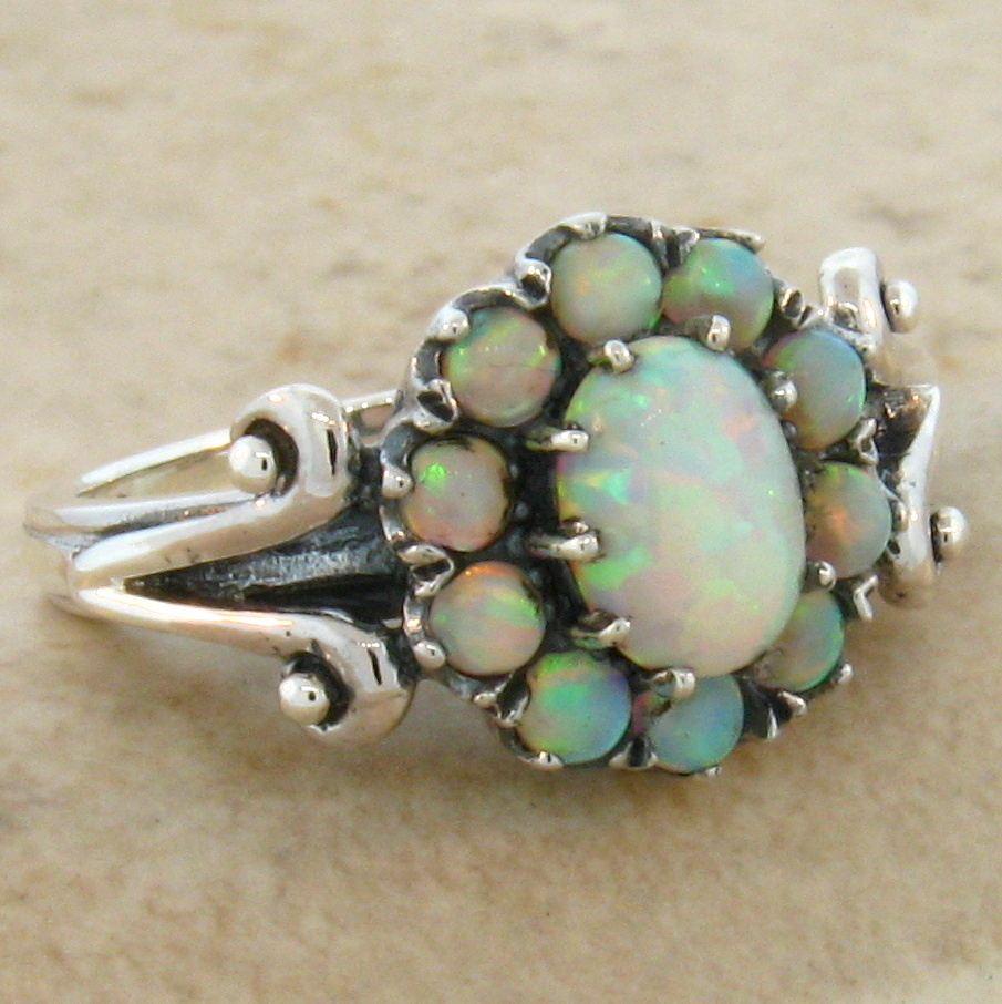 ... OPAL ANTIQUE VICTORIAN DESIGN .925 STERLING SILVER RING SIZE 6, #464