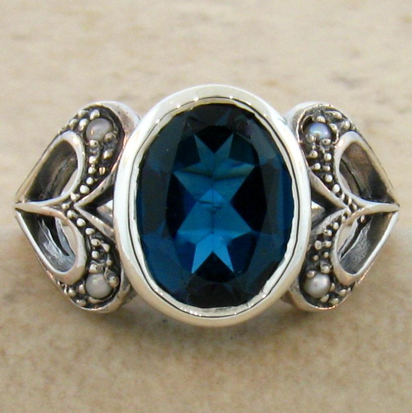 3 ct genuine blue topaz antique design 925