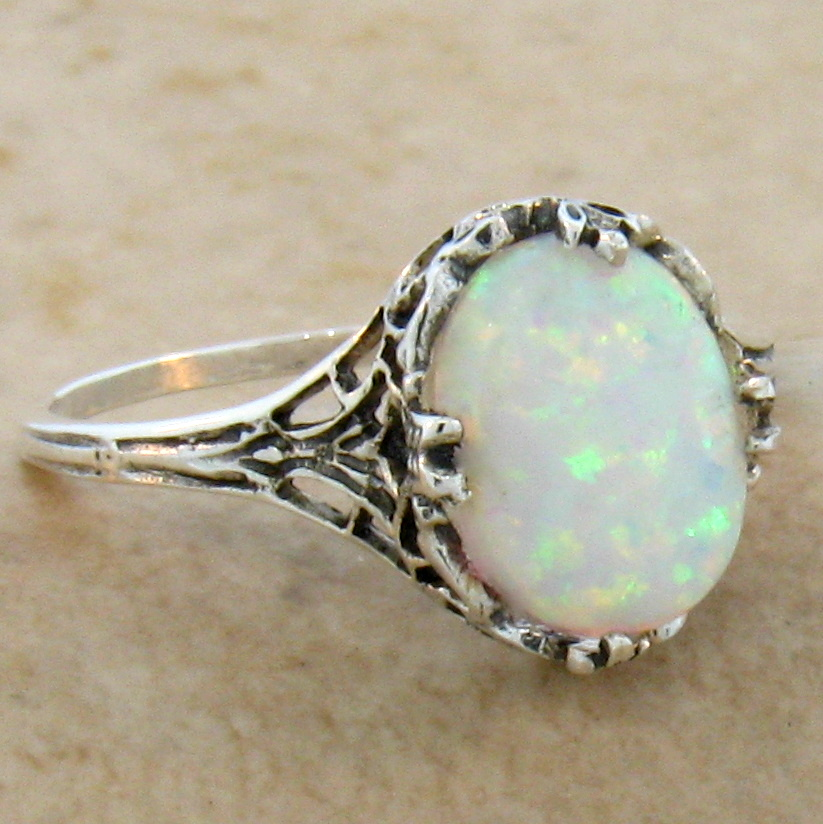 ... WHITE LAB OPAL ANTIQUE FILIGREE DESIGN .925 STERLING SILVER RING, #486