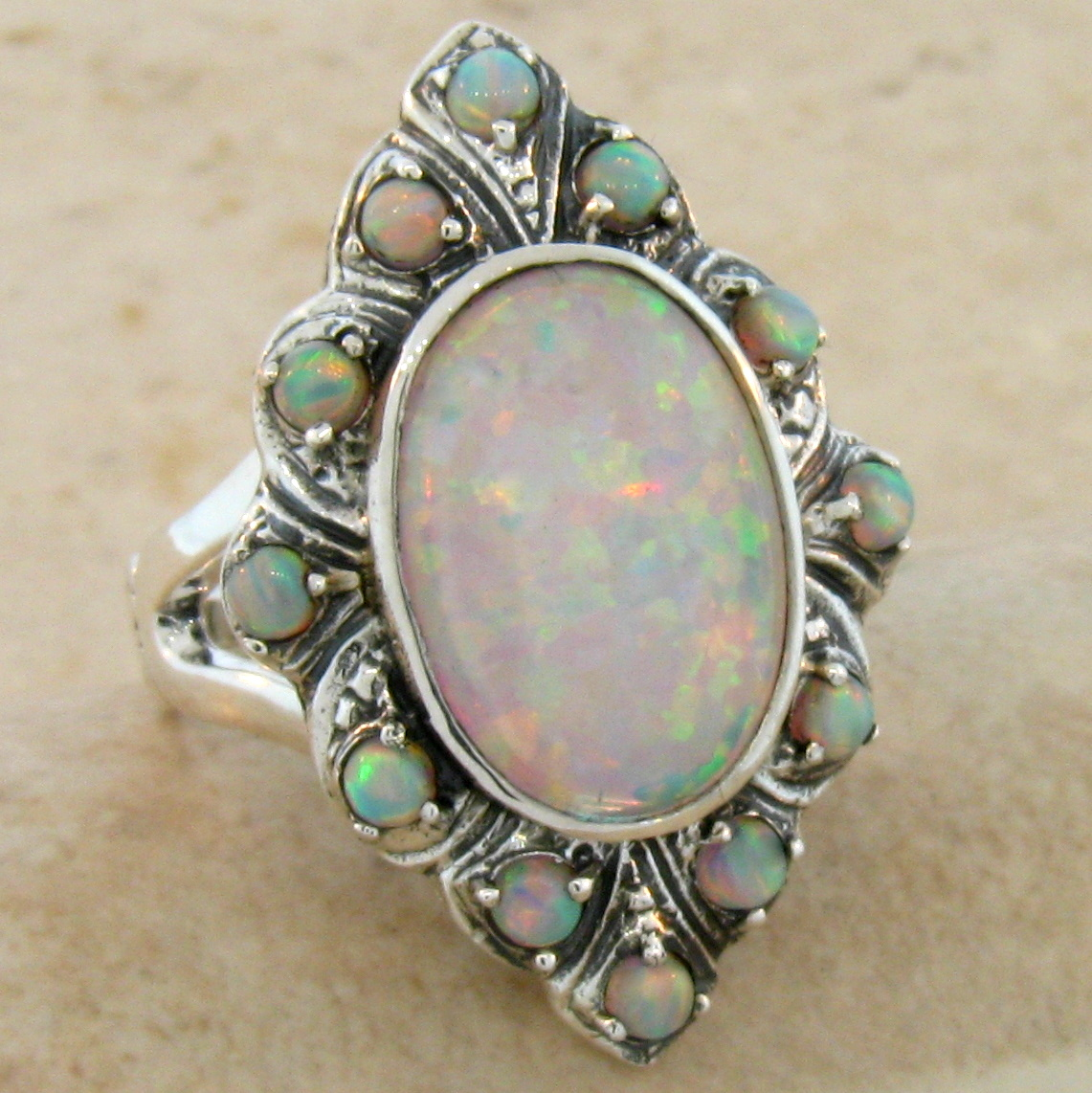 lab opal antique victorian design 925 sterling silver