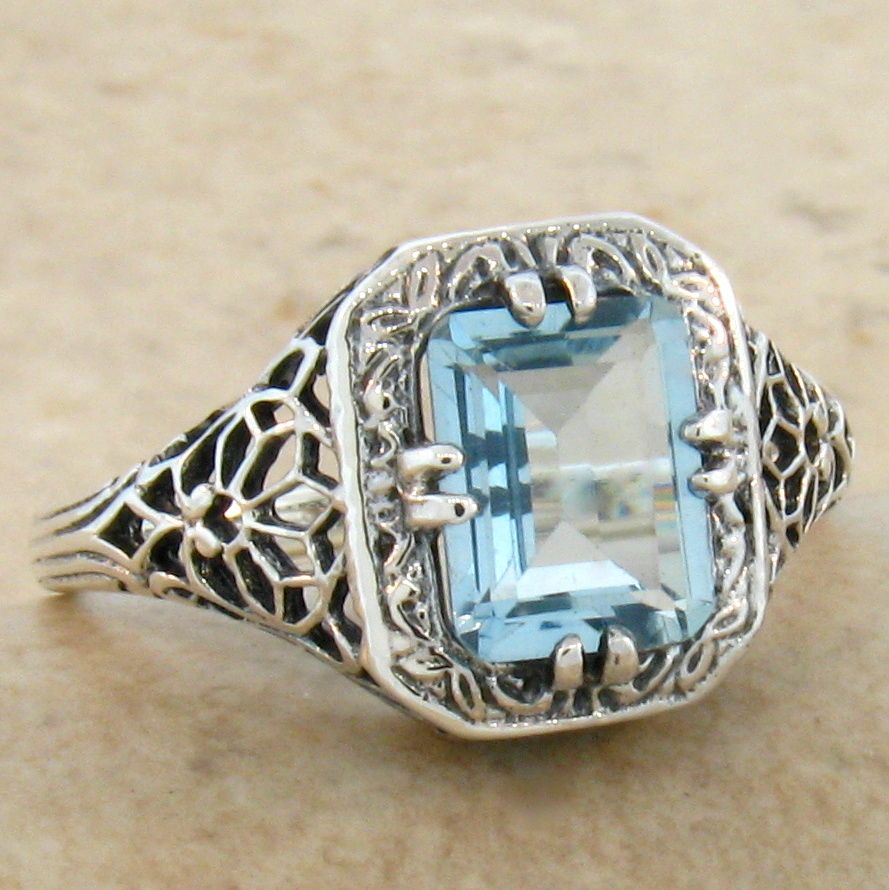 Round Laser Cut Blue Topaz Ring Art Deco Style Sterling Silver 6.32 ct