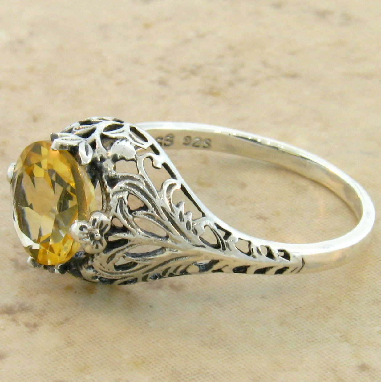 #133 REAL CITRINE .925 STERLING SILVER ART DECO SOLITAIRE RING SIZE 10