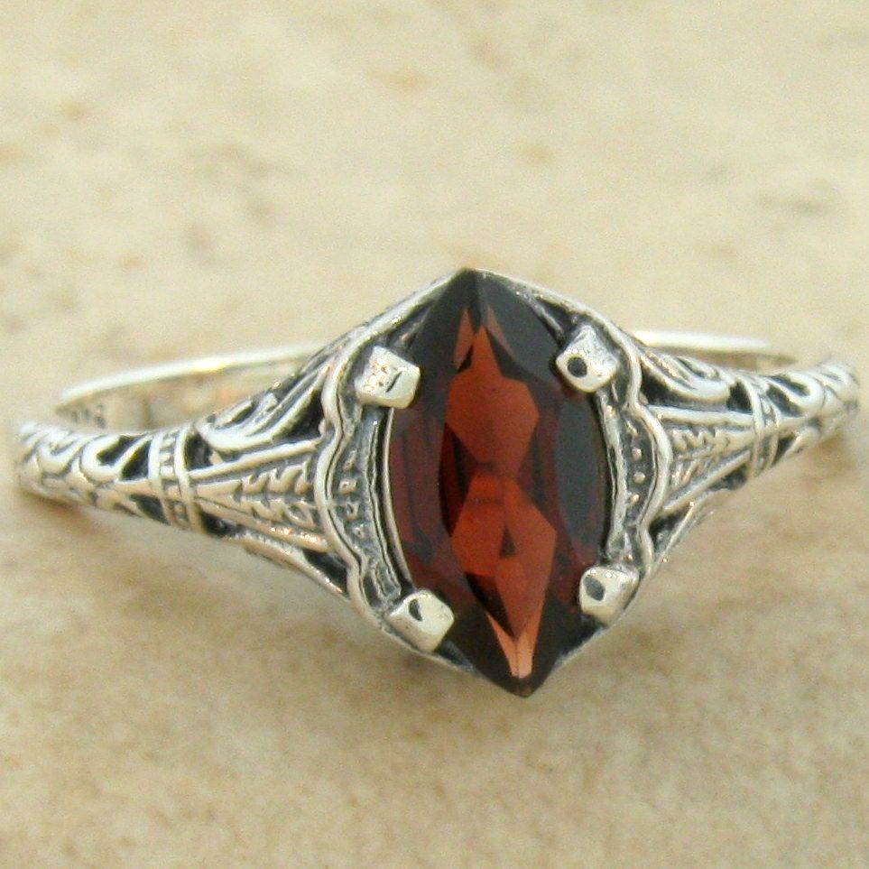 genuine garnet 925 sterling silver antique design ring. Black Bedroom Furniture Sets. Home Design Ideas