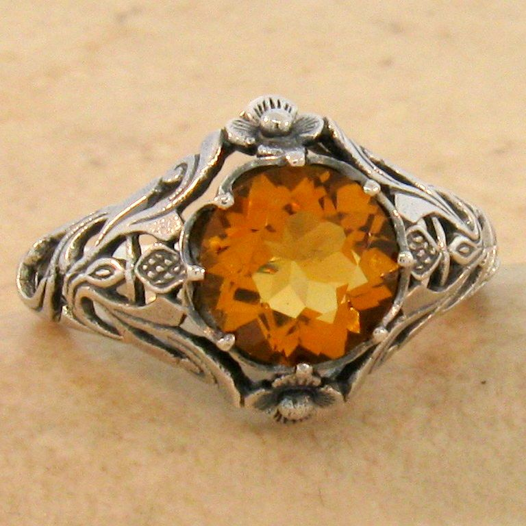#698 GOLDEN HYDRO CITRINE ANTIQUE DESIGN 925 STERLING SILVER RING SIZE 9.75