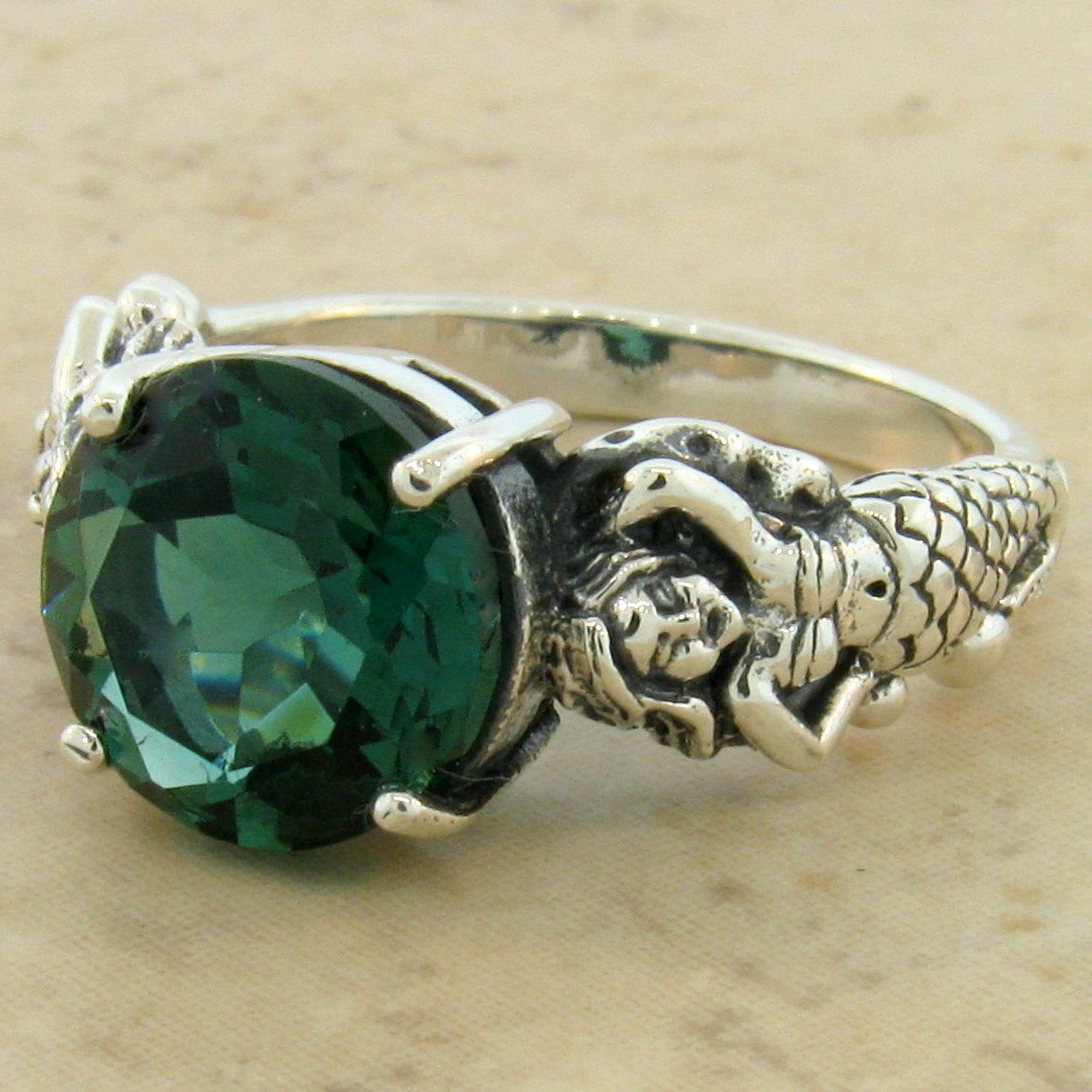 MERMAID RING 925 STERLING SILVER GREEN SIM EMERALD VICTORIAN STYLE SIZE 10 #956