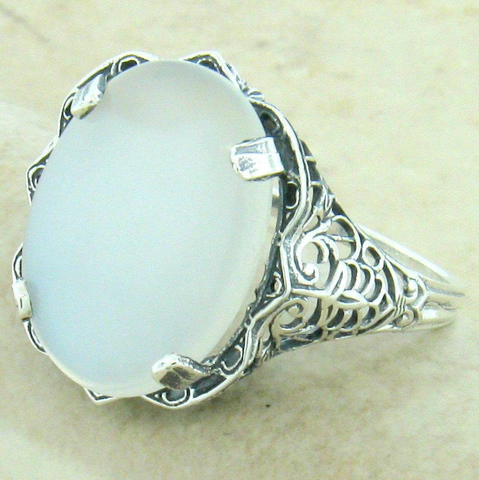 #926 GENUINE MOONSTONE 925 SOLID STERLING SILVER ANTIQUE FILIGREE STYLE RING
