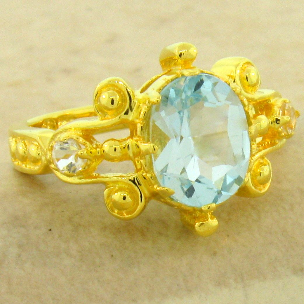 GENUINE SKY BLUE TOPAZ 24K GOLD /& 925 SILVER ANTIQUE STYLE RING SIZE 10 #1045