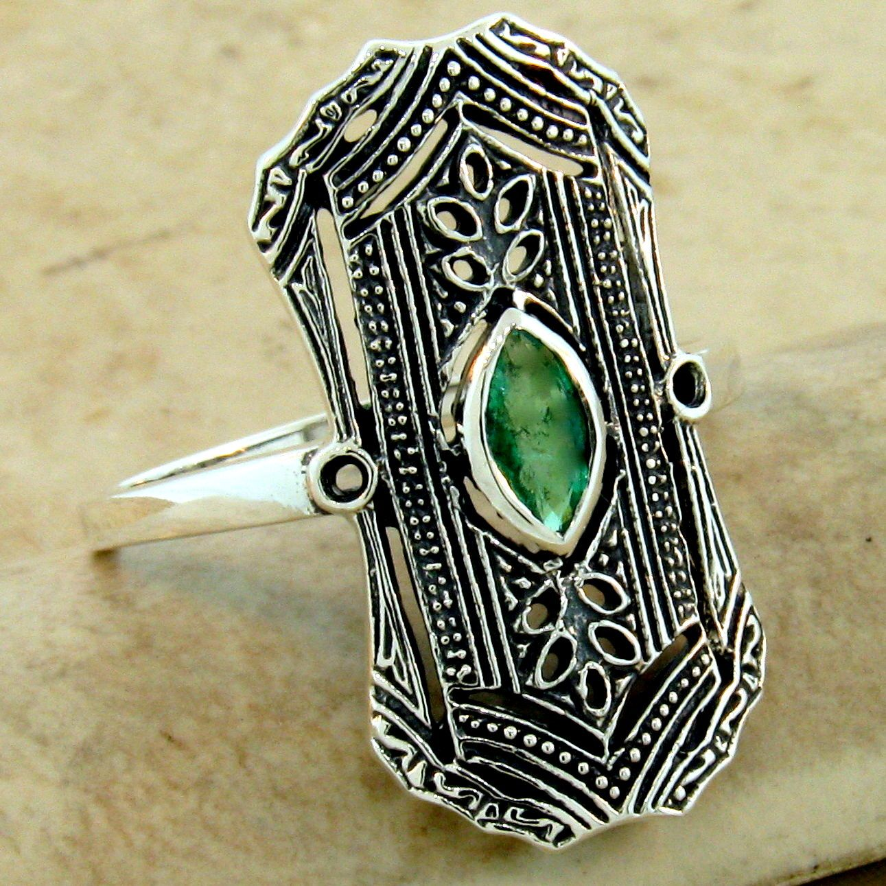 Rings Genuine Emerald Antique Art Deco Style 925 Sterling Silver Ring Size 6 75 363 Jewellery Watches Fortizzamalta Com