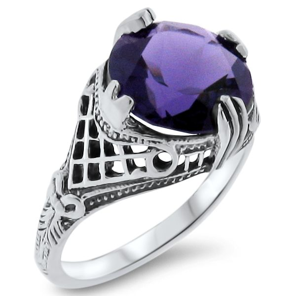 #828 MERMAID RING VICTORIAN 925 STERLING SILVER GREEN LAB AMETHYST SIZE 10
