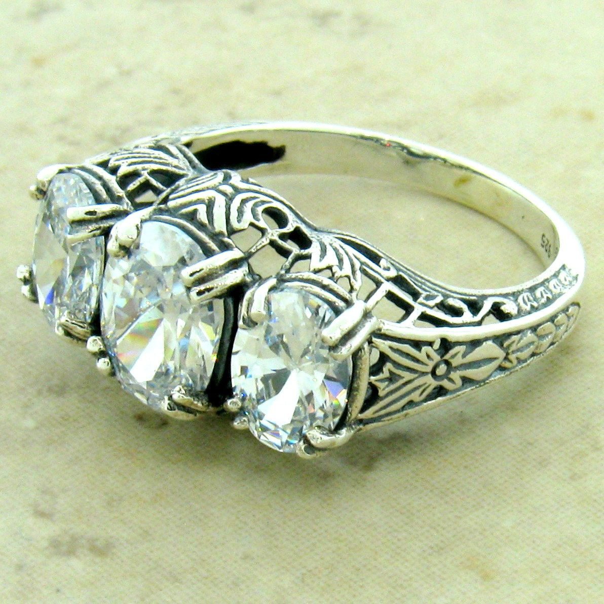 ART DECO 925 STERLING SILVER 1.79 CTTW ANTIQUE STYLE CZ RING SIZE 9 #1151