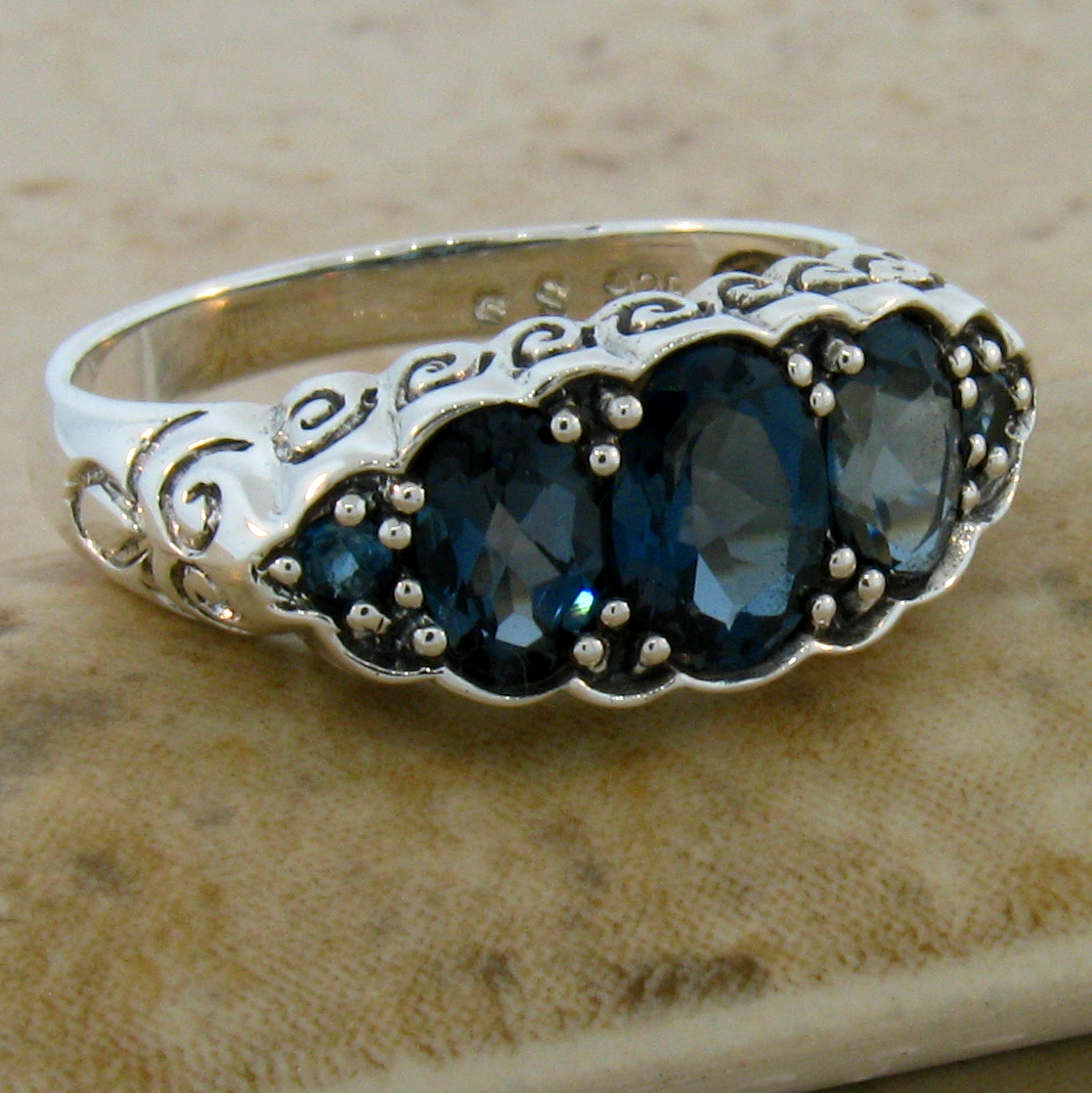 Genuine London Blue Topaz Antique Nouveau Style 925