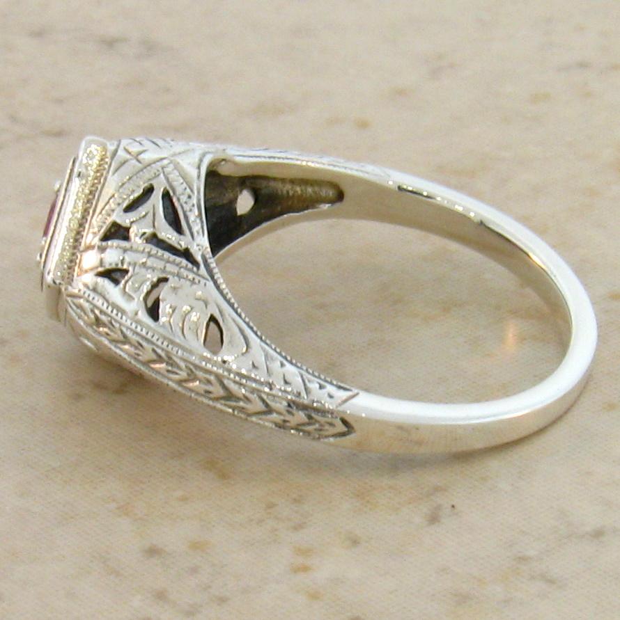 Ruby Sterling Silver Filigree Ring Antique Vintage Edwardian Art Nouveau Filigree