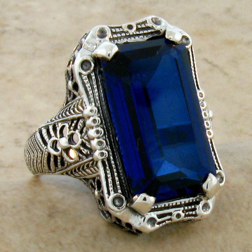 9 Ct BLUE LAB SAPPHIRE ANTIQUE ART DECO STYLE .925 STERLING SILVER RING SZ 8,#36