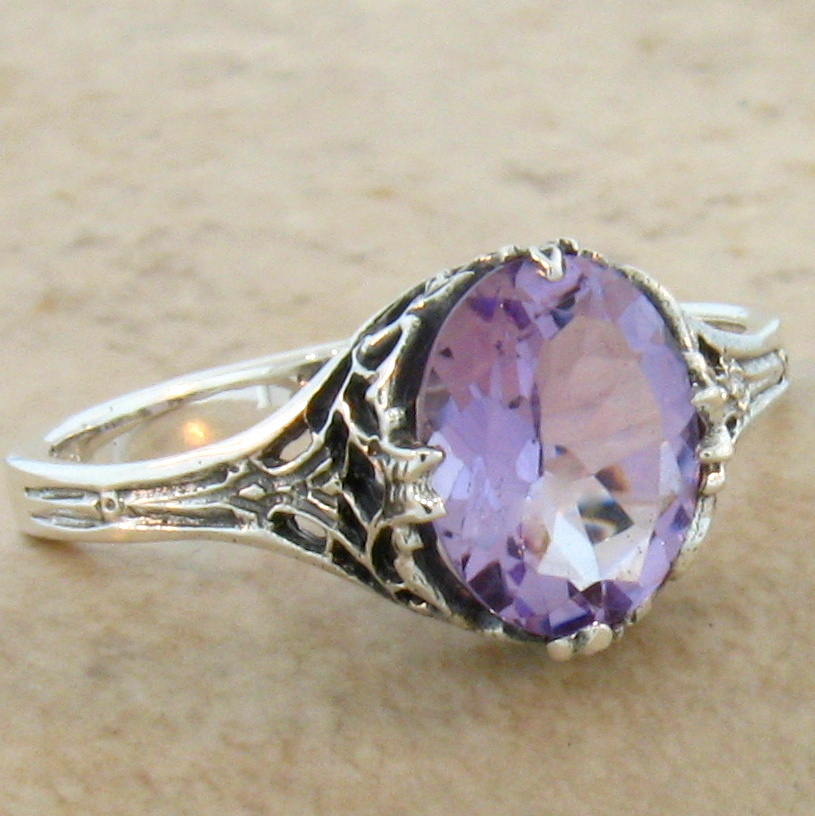 GENUINE AMETHYST ANTIQUE ART DECO STYLE .925 STERLING SILVER FILIGREE RING #441