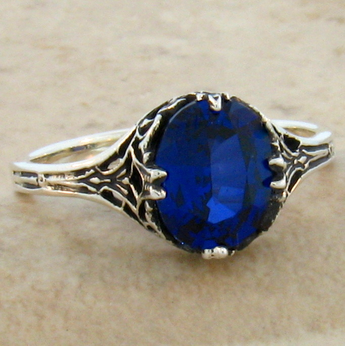 3 STONE BLUE LAB SAPPHIRE ANTIQUE STYLE 925 STERLIMG SILVER RING SIZE 6    #387