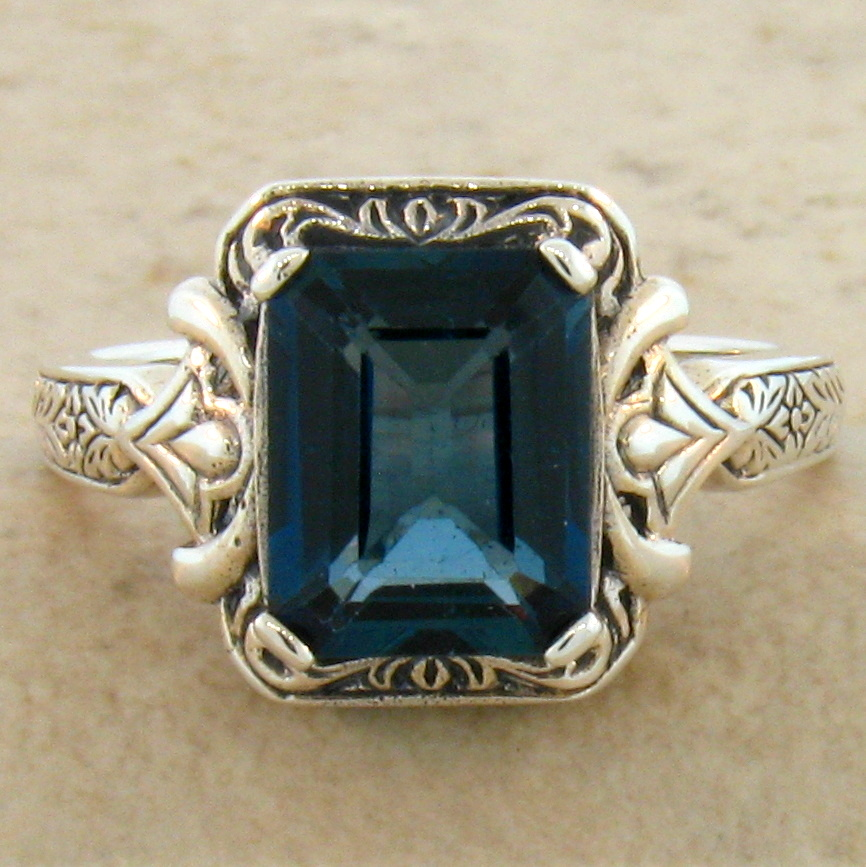 Genuine Blue Topaz Antique Art Deco Style 925 Sterling Silver Ring SZ 10 KN-570